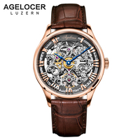 AGELOCER Skeleton Power Reserve 80 Hours Mechanical Watch Men Automatic Gold Leather Mechanical Wrist Watches Reloj Hombre 2017