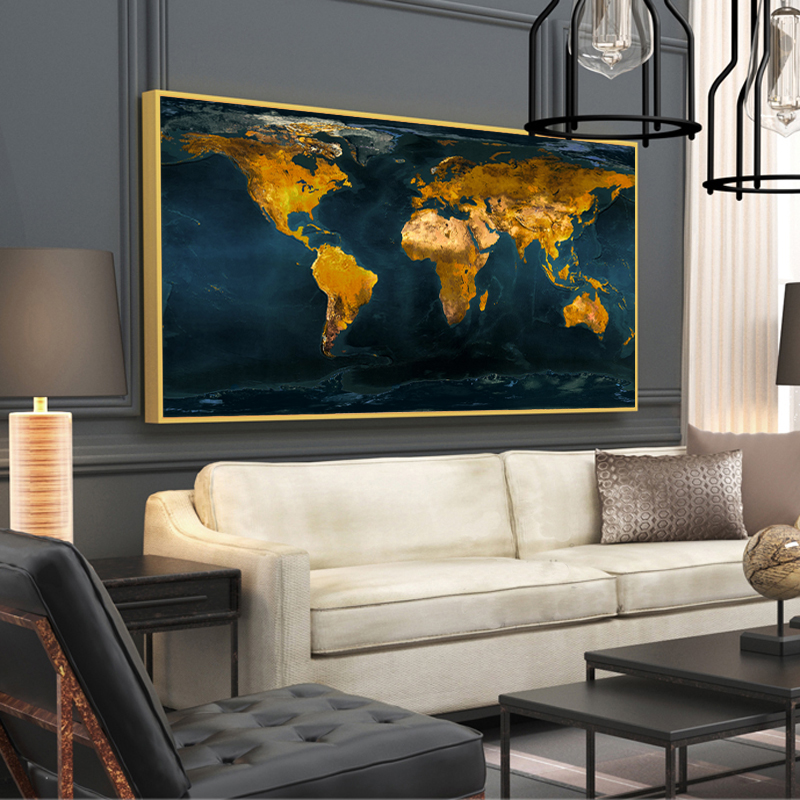 Wall Paintings Posters And Prints Wall Art Canvas Painting Golden World Map Pictures For Living Room Cuadros Home Decor No Frame