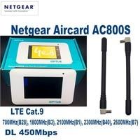 Netgear Aircard AC800S Cat9 450Mbps Portable 4G LTE WiFi Hotspot Support B1 B3 B7 B8 B28 B38 B40 Plus with 2pcs antenna