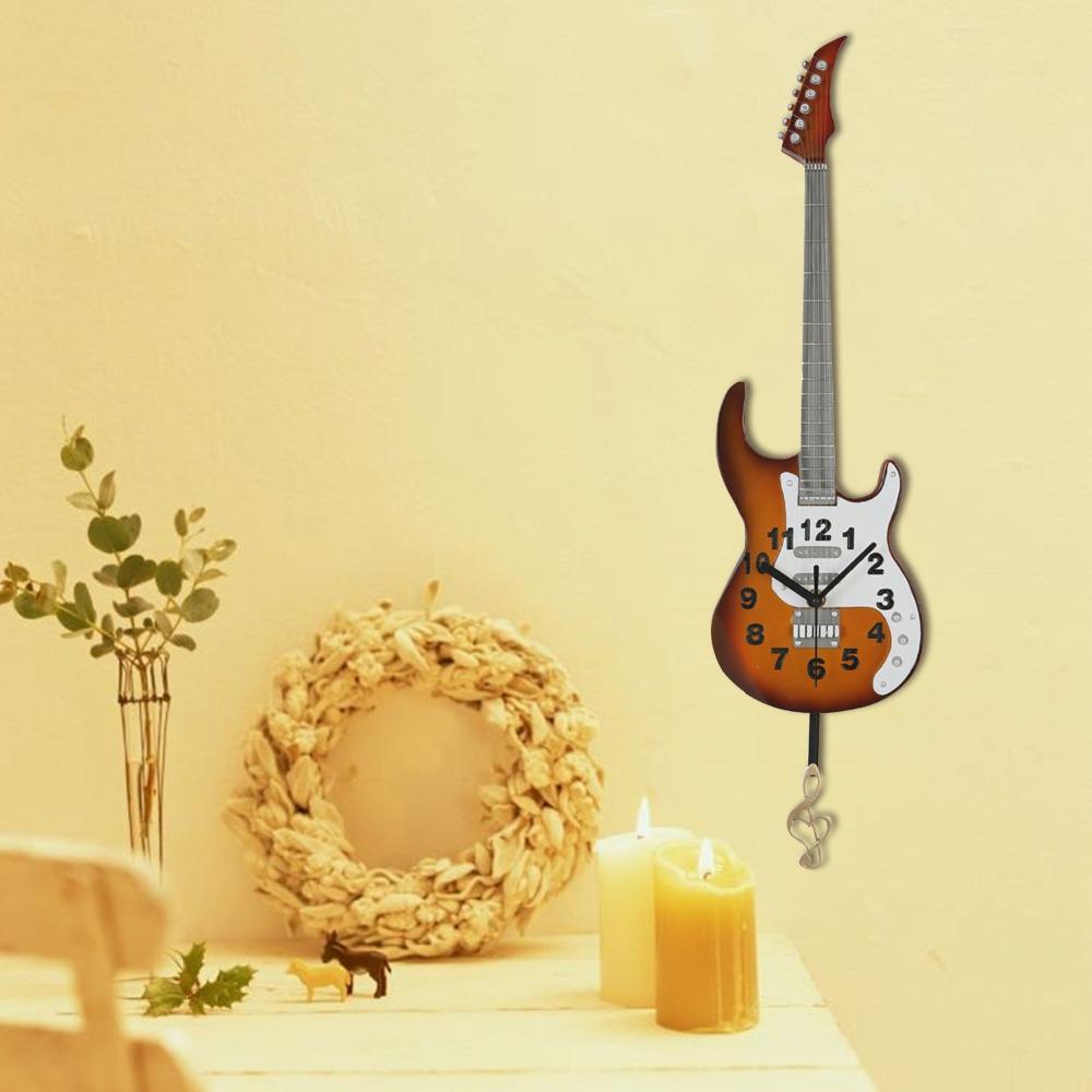 Guitar Design Wall Clocks Modern Wall Clock Music Theme Hanging Wall ...