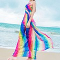 150*180cm Scarves Summer Women's Long Striped Rainbow Print Chiffon Sarongs Hijab Beach Swimsuit Cover Up Bikini Scarf