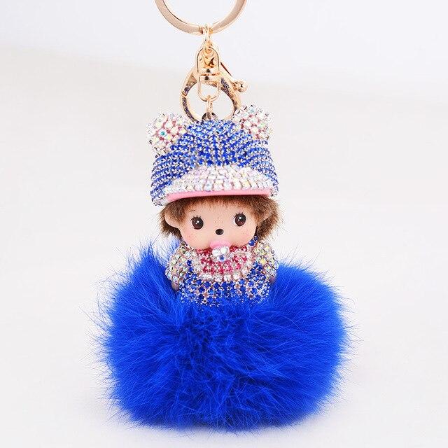 Caliente venta Monchichi llavero Rhinestone cristalino del embutido de figura de la bola de pelo de conejo Pom Pom mujeres accesorios