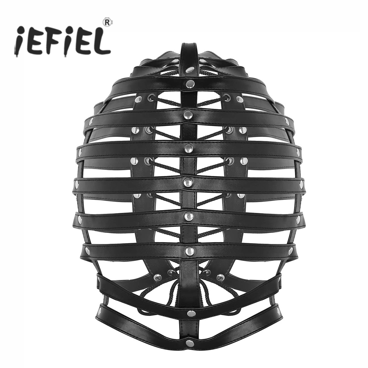 Unisex Black Mens Adjustable Faux Leather Fancy Dress Masks Full Covered Hood Mask Buckled Lockable Caged Head Harness Costumes
