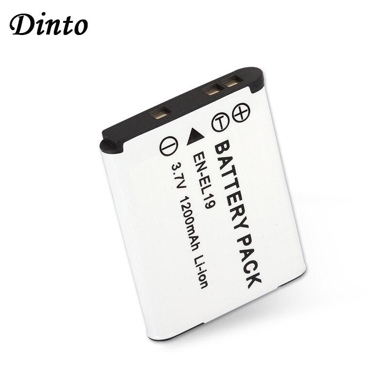 Dinto 1 pc 1200 mAh 3.7 V EN-EL19 ENEL19 batterie de caméra Rechargeable pour Nikon S2500 S3100 S4100 EN EL19