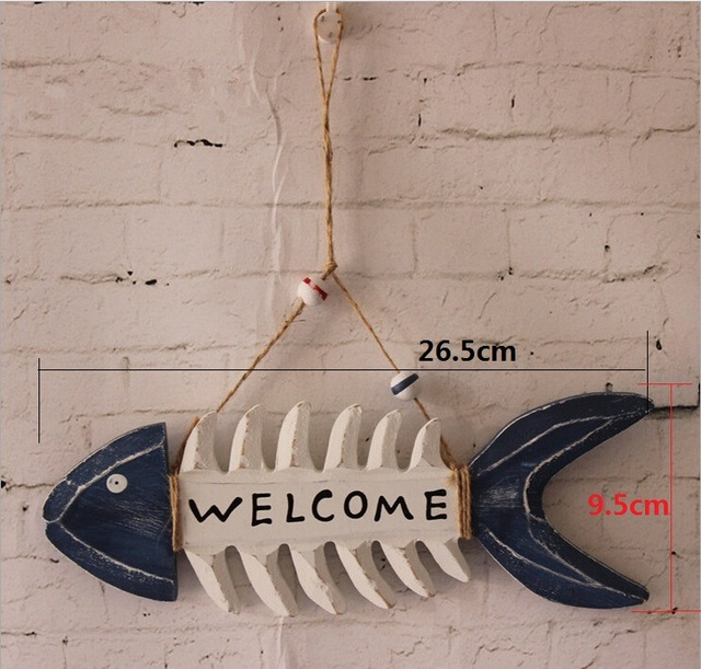 Fish Bone Wall Door Welcome Sign Decoration DIY Craft Vintage Decor For Christmas Store Decorations