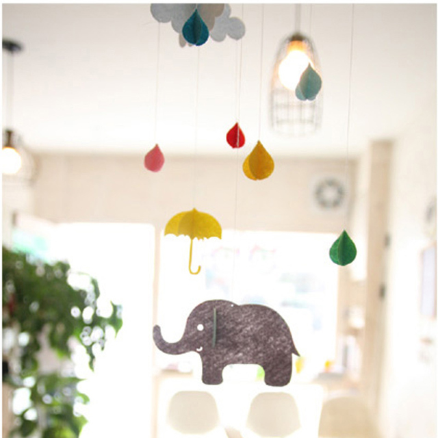 1pcs beautiful 3d cloud raindrops elephant umbrella small for 3d decoration for birthday