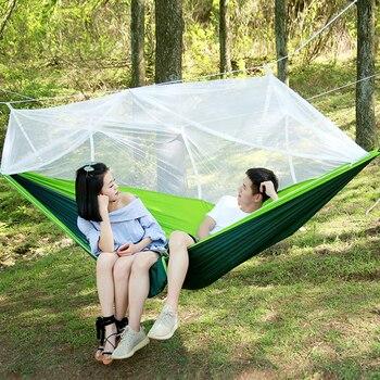 Ultralight hamak spadochronowy polowanie moskitiera dla dwóch osób łóżko Drop-Shipping Outdoor Camping przenośny hamak