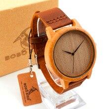 Бобо птица часы Мужские Бамбук Деревянные наручные часы с подлинной натуральной кожи группа роскошные деревянные часы для мужчин C-A19