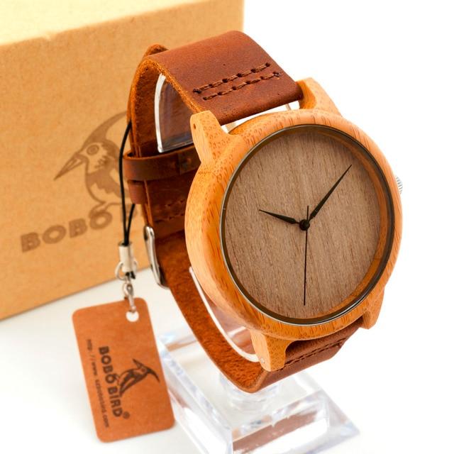 734259eecb70 BOBO BIRD relojes de pulsera de madera de bambú para hombre con correa de  cuero de