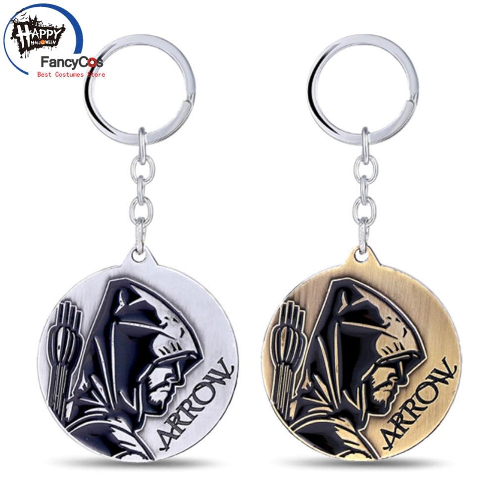 Superhero Green Arrow logo Arrow Pendant Metal Key chain Necklace Fancy Jewelry Costume Cosplay Halloween