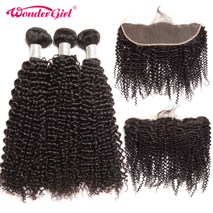 Brazilian Kinky Curly Hair 3 Bundles With Frontal 13x4 Ear To Ear Lace Frontal Closure With Bundles Remy Human Hair Wonder girl