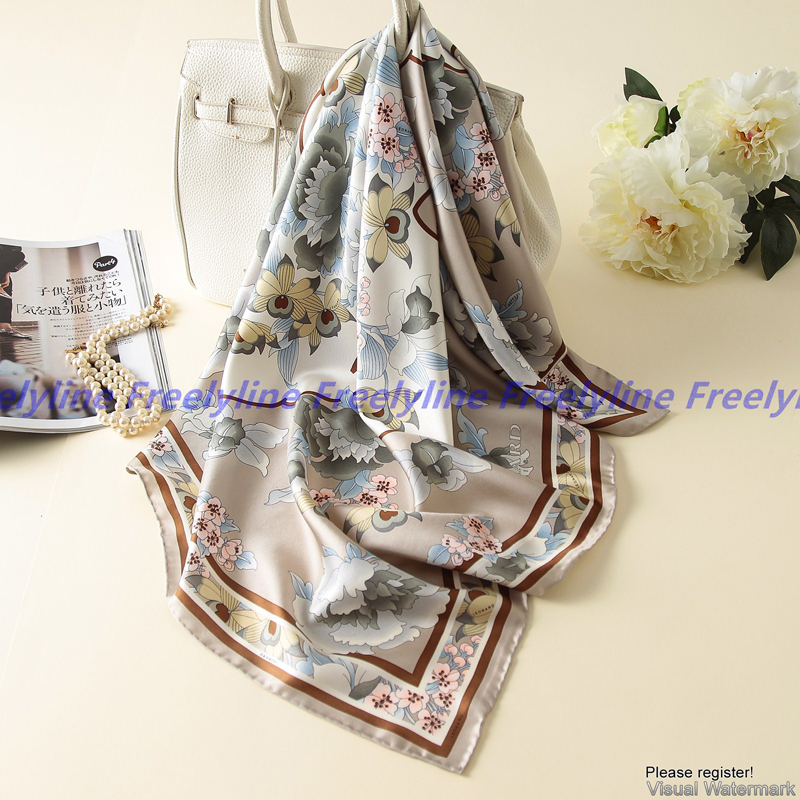 Image 5 - Floral Print 100% Silk Twill Scarf Bandana Hijab Women Fashion Square Silk Scarves Shawl Wraps Top Grade Hand Rolled Edge 90cm-in Women's Scarves from Apparel Accessories