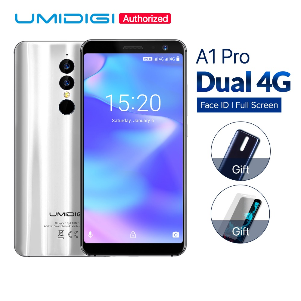 UMIDIGI A1 Pro Android 8.1 Global version mobile phone 5.5 inch 3GB+16GB Quad Core cellphone 13MP 5MP Dual SIM 4G LTE smartphone