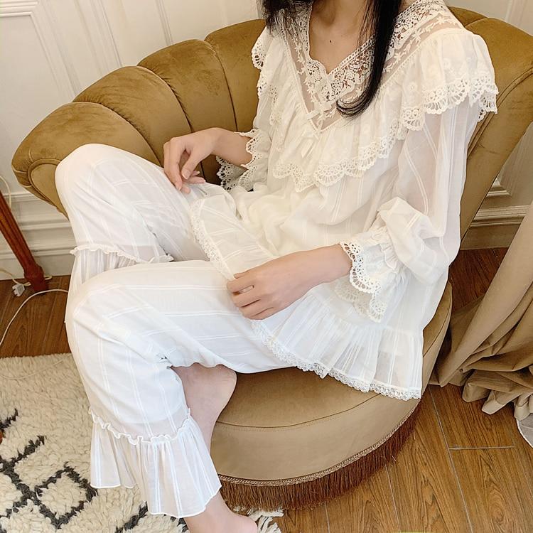 Women's Lolita Princess V Neck Pajama Sets.Ruffle Lace Tops+Long Pants.Vintage Ladies Girl's Pyjamas Set.Sleepwear Loungewear