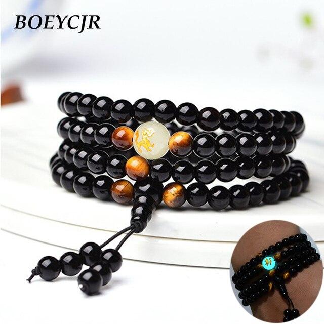 BOEYCJR Black Buddha Beads Bangles & Bracelets Handmade Jewelry Ethnic Glowing in the Dark Bracelet for Women or Men 2018