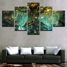 HD Printed Vintage Pictures Canvas Paintings Wall Art 5 Pieces Enchanted Tree Scenery Modular Poster For Living Room Home Decor