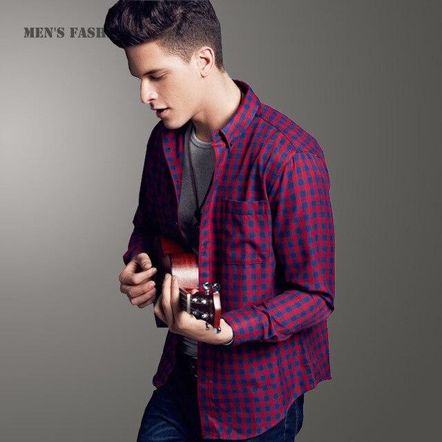 81c8296d738 New Arrival 2016 Spring Long Sleeve Premium Mens Flannel Shirts Fashion  Slim Fit Plaid Shirt Sale