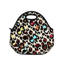 Новый красочный leopard сумки обед неопрена тепловой женщин дети ребенок портативный случайные сумки окно тотализатор водонепроницаемый контейнер еды