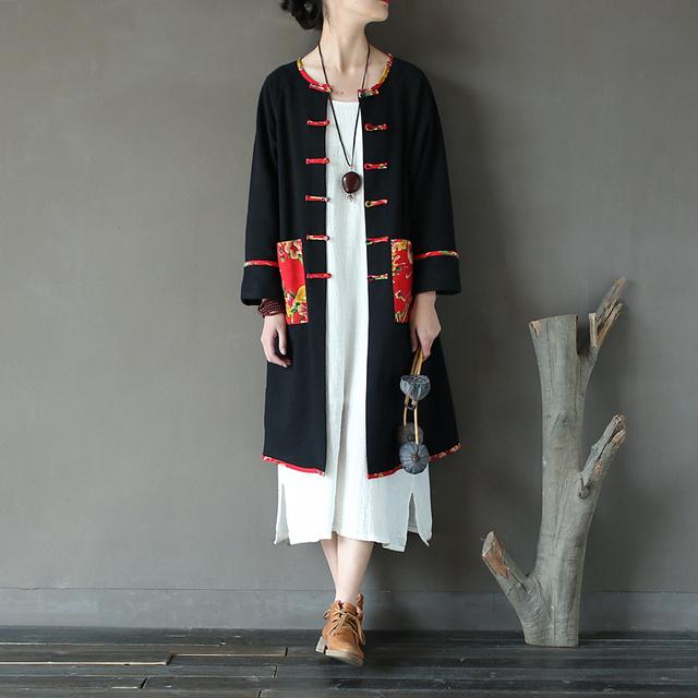 Mulheres Inverno Retro Patchwork Artesanal Fivela Único Breasted de Lã Trincheira Casaco De Linho de Algodão Casaco Outwear Preto Chinês