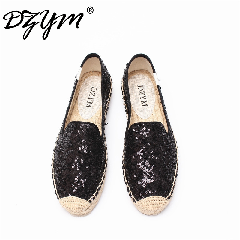 DZYM 2017 New Arrival Sequined Cloth Espadrille Bling Women Platform Flats Linen Straw Fisherman Shoes Hemp Zapatos Mujer the new straw linen canvas shoes men and women weave fisherman couple flats shoes