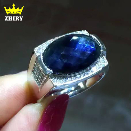 Men ring Genuine Natural sapphire rings for man real 925 sterling silver precious black blue gemstone Fine Jewelry