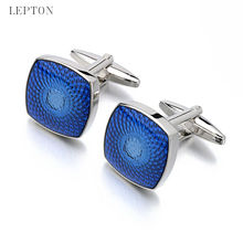 Lepton Square Blue Cufflinks 3Pairs/Lot New Fashion Stainless Steel Cuff links for mens Groom Wedding Dress Best Gift gemelos