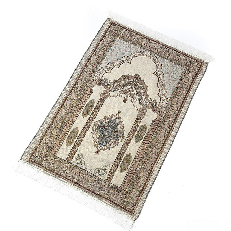 Muslim Prayer Carpet Spun Gold Light Carpet Door Mats Islamic Salat Musallah Rug Carpet Mat Prayer Cotton Door Mat   65*110CM