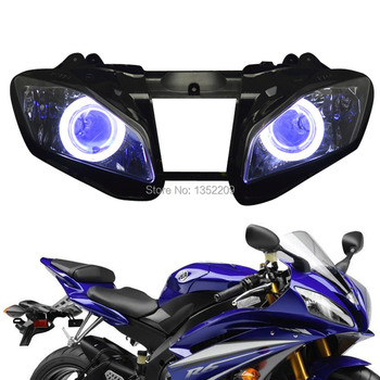 New Projector HID 35W 12V Headlight Assembly with White Angel Blue Demon Eyes Fits For Yamaha YZF R6 2008-2014 image