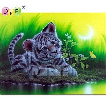 Heiße neue DIY Diamant Mosaik tiger durch den fluss Diamant Malerei Kreuzstich Kits Diamant Stickerei Muster Strass dekor