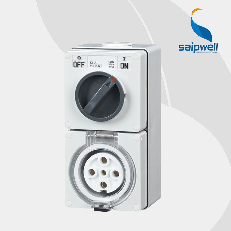 Saipwell Popular Industrial Socket cee ip67 5 Pin Plug And Socket High Quality 5P 20A 56CV520 high quality ip67 5p 125a international standard panel mounted socket waterproof concealed industrial socket sp 1461