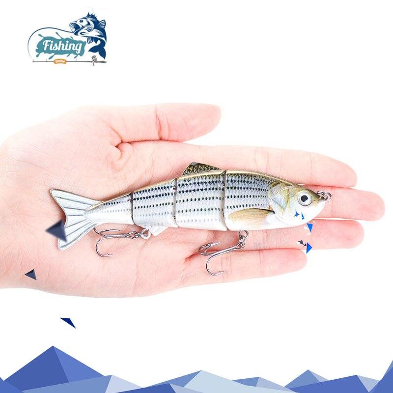 1PCS 12cm 16.6g Fishing Wobblers 4 Segments Swimbait Crankbait Fishing Lure Bait with Artificial Hooks for Ocean Boat Fishing