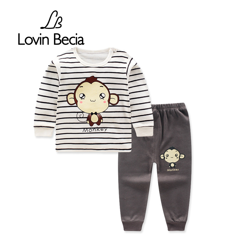 LovinBecia 2pcs Set Baby Underwear Clothing Sets Cartoon Casual clothes Baby Boy Girl Clothes suits toddler kids warm tracksuit
