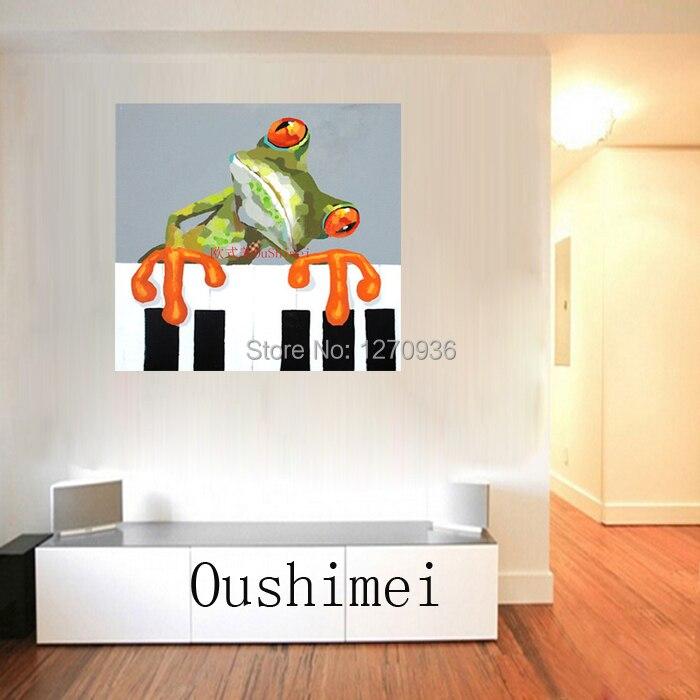Ручная работа абстрактные животные играть фортепиано лягушка картина для комнаты настенный Декор ПЭТ индивидуальная покраска на холсте бульдог крокодил