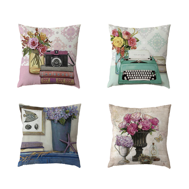 Vintage Style Cushion Cover Colorful Flower Butterfly Clock Phone Cover Home Bedroom Sofa Decor Polyester Peach Skin Pillow Case