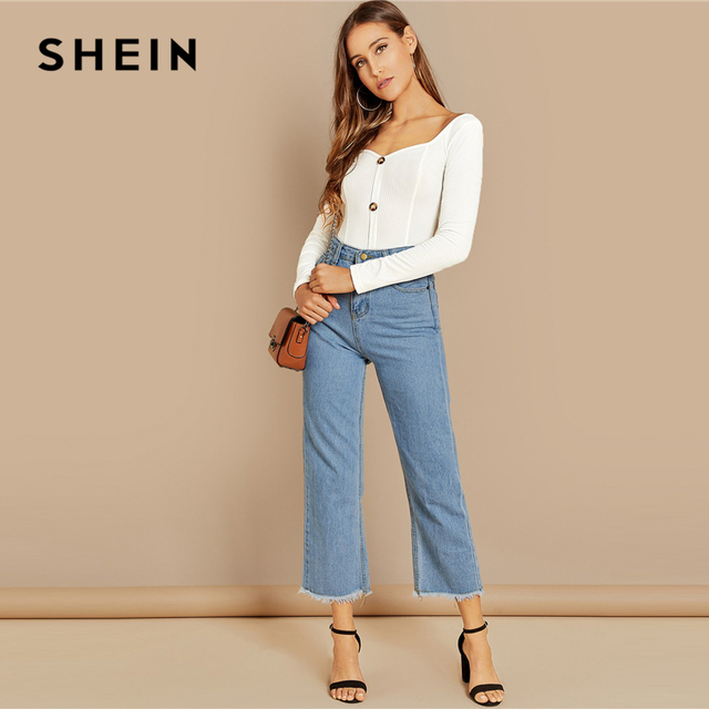 SHEIN White Office Lady Button Front Ribbed Knit  Deep V Neck Pullovers Tee Autumn Modern Lady Workwear Women Tshirt Top 2