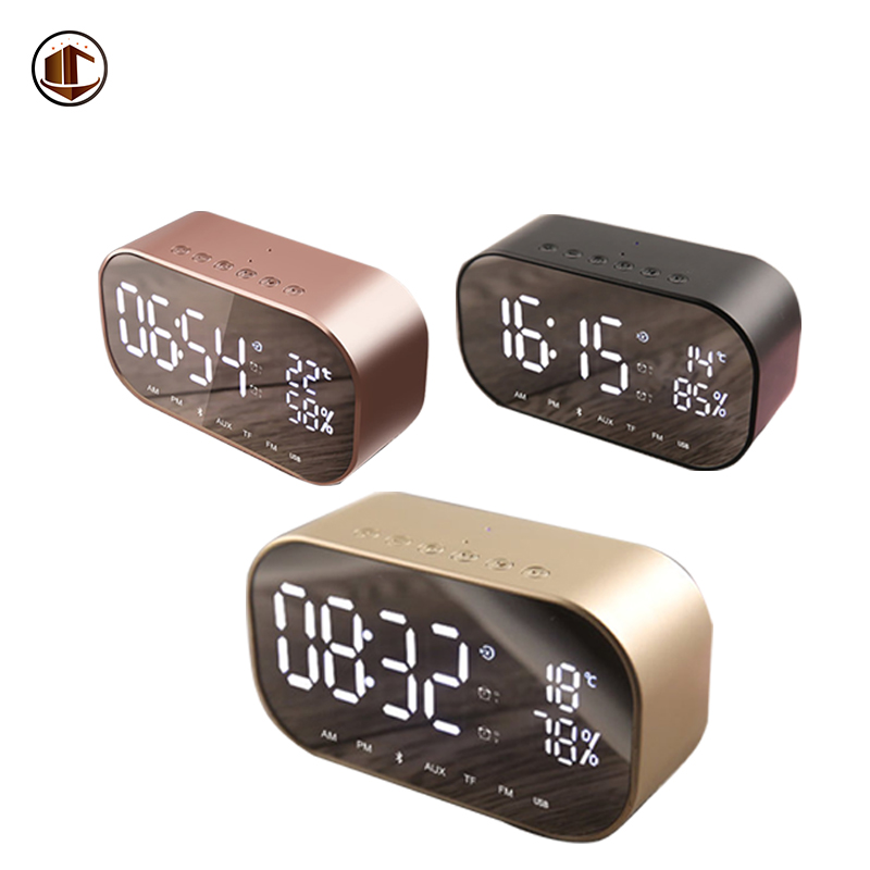 S2 Bluetooth 4.2 Stereo Speaker FM Radio Hands-Free Call Desktop Alarm Clock LED Mirror Display Mini Portable Wireless Speakers цена