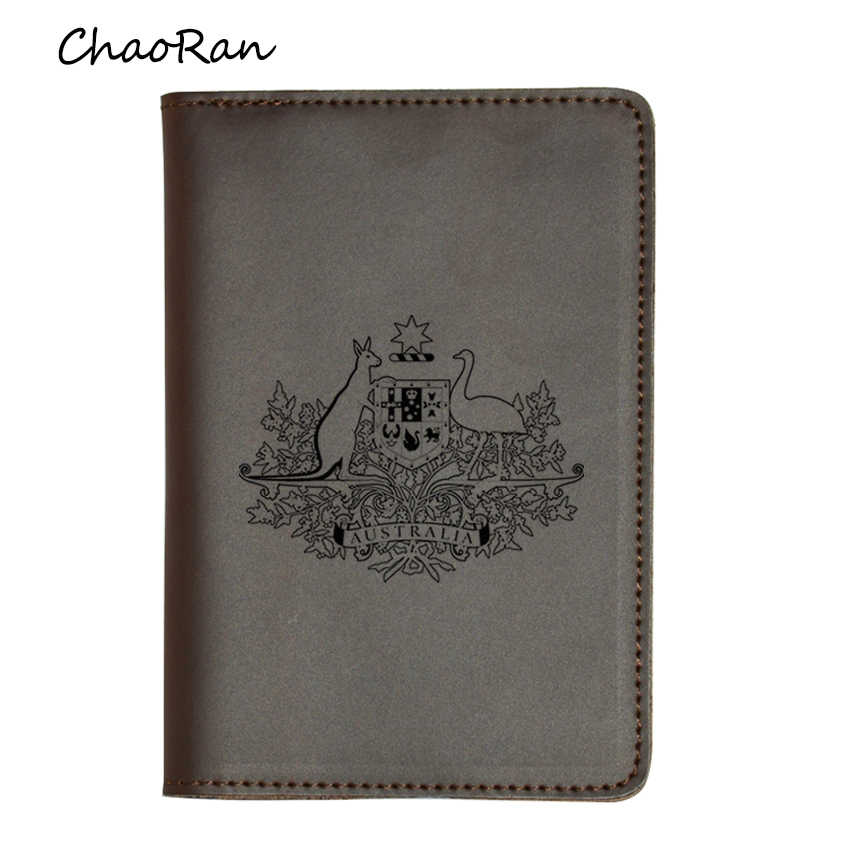 Australia Passport Card Holders Purse Women and Men Travel Wallet Engraved Name Real Leather Passport Cover Case
