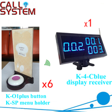 Wireless Waitress Calling System 1 monitor receiver with 6 table buzzer with menu base