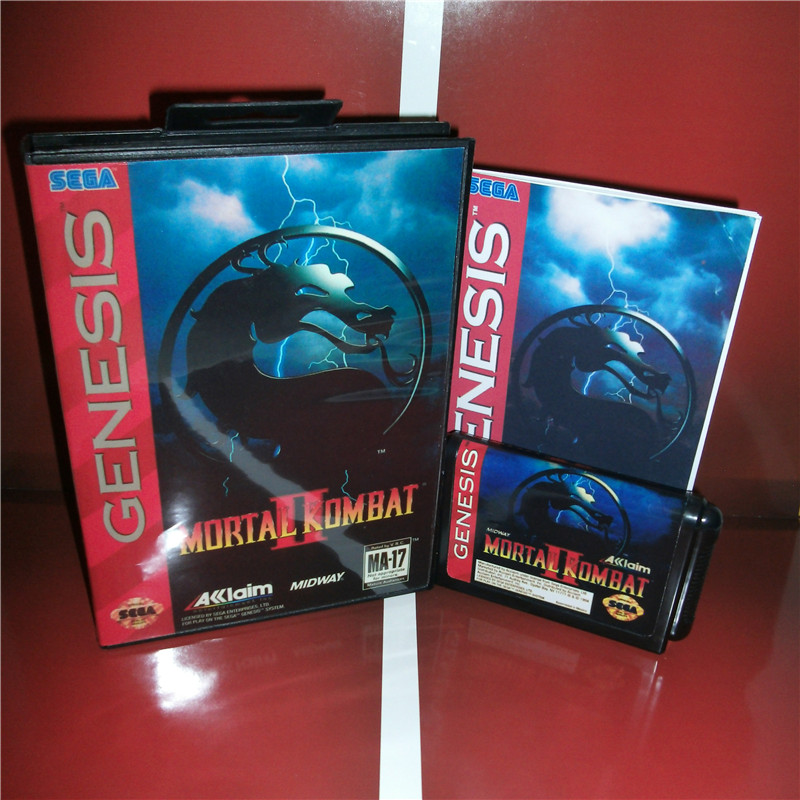 Mortal Kombat 2 US Cover with Box and Manual For Sega Megadrive Genesis Video Game Console 16 bit MD card