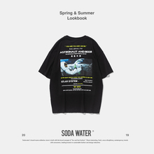 SODA WATER Graphic Printed Tee Streetwear Hip hop Casual T-shirt 2019 Individual Tee Summer Cotton O-neck Loose Fit Tee 9148S