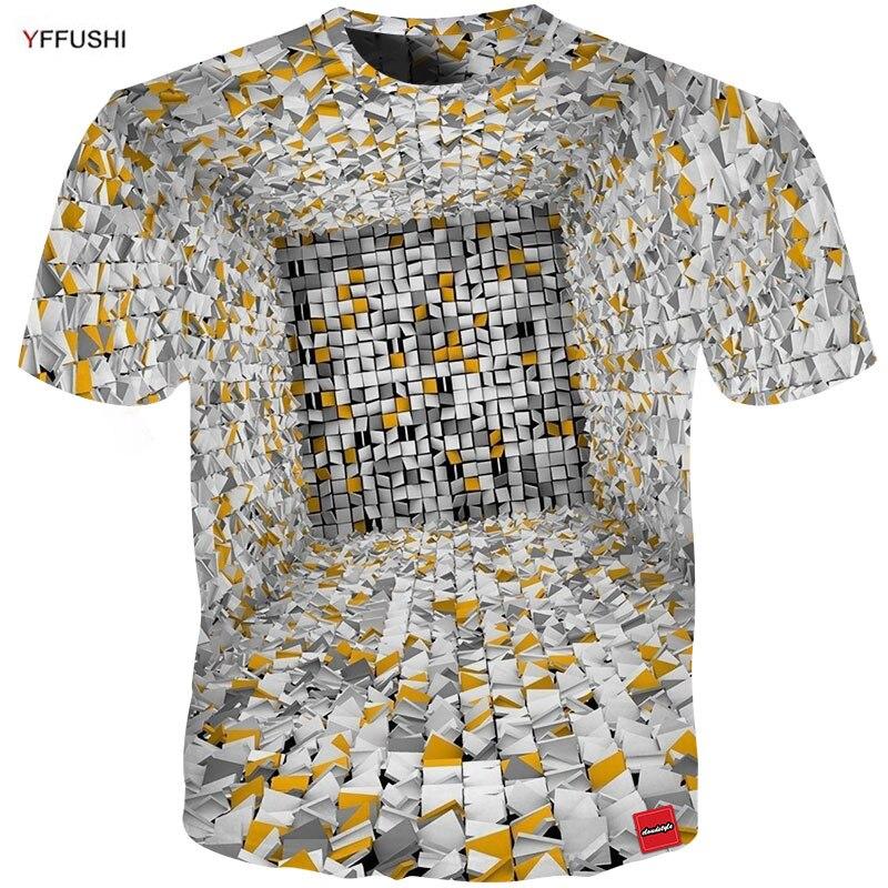 Image 3 - YFFUSHI حجم كبير 5XL الذكور ثلاثية الأبعاد تي شيرت موضة الصيف تي شيرت ملابس فوقية كول منقوشة الماس ثلاثية الأبعاد الهيب هوب تي شيرت موضة-في تي شيرتات من ملابس الرجال على AliExpress