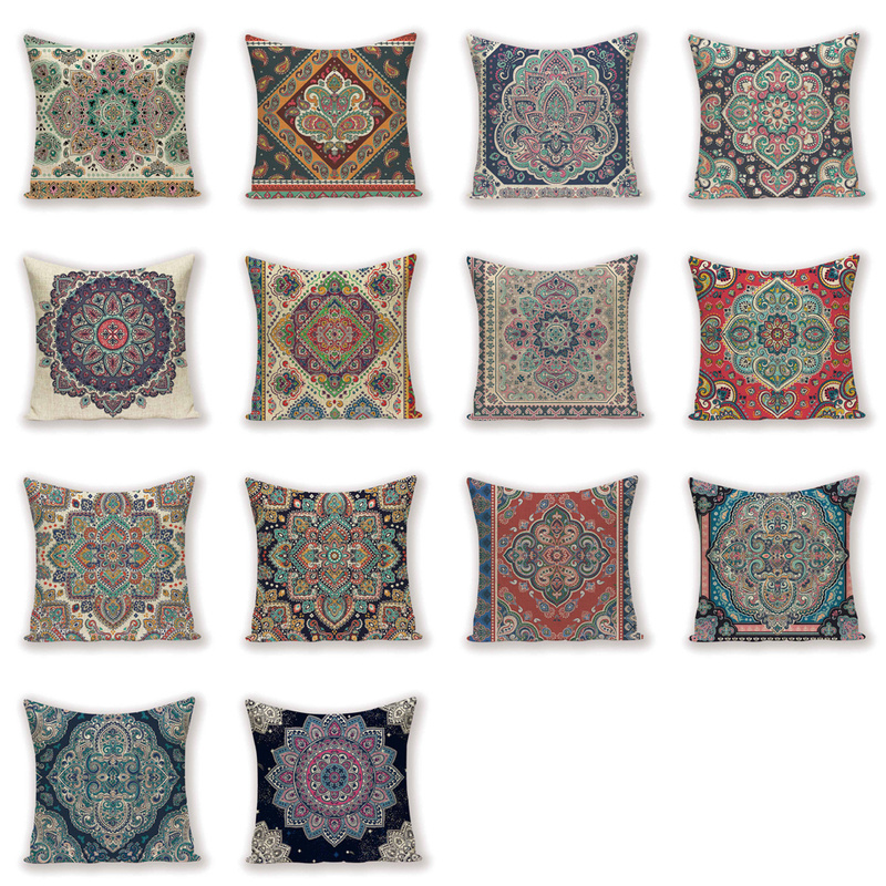 Vintage  Decor Throw Pillow Case Shabby Chic Farmhouse Decorative Cushion Covers Flax Pillow 45 * 45 Bohemian  Pillow Covers