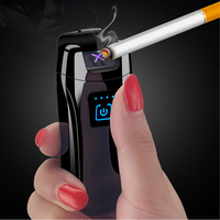 New Metal Dual Arc Lighter Electric USB Lighters Power Display Touch Windproof Rechargeable Cigarette Lighter Men Gift briquet|Cigarette Accessories| |  -