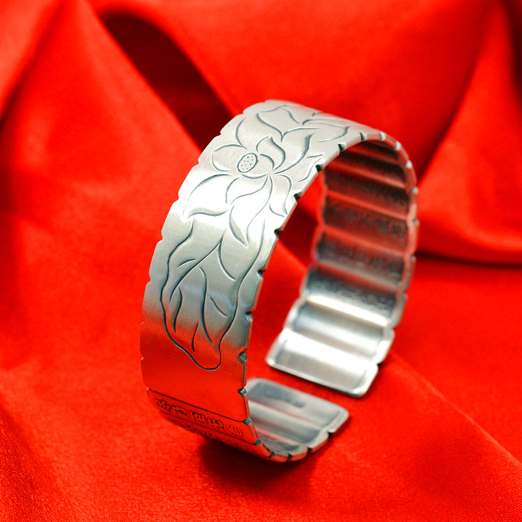Ms character silver products seiko fine silver jewelry wholesale ethical wind lotus heart sutra bracelet