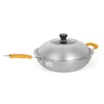 Uncoated flat bottomed frying pan thickened iron three layer stainless steel wok smokeless sticky cooker pot with lid 30-34cm