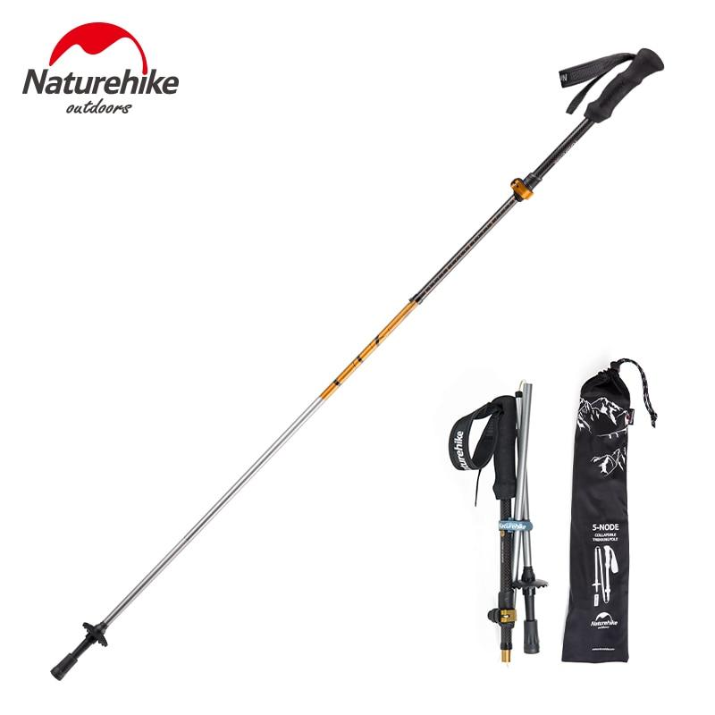 1 Pcs NatureHike 5 Sections Carbon Fiber Portable Ultralight Adjustable Walking Sticks Camping Trekking Poles Hiking