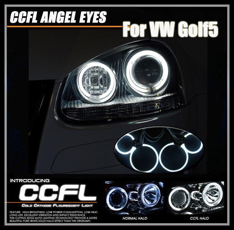 İyi Kalite CCFL Için DRL Gündüz Angel Eyes Sis Işıkları VW VW Golf5 Daylights Golf5 MK5 CCFL Halo Yüzükler Far