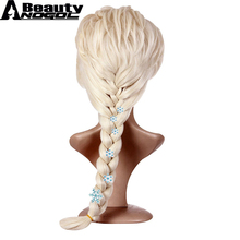 ANOGOL BEAUTY 6 Snowflake Hairpins+Hair Cap+ Platinum Blonde Braids Elsa Princess Synthetic Cosplay Wigs For Adults