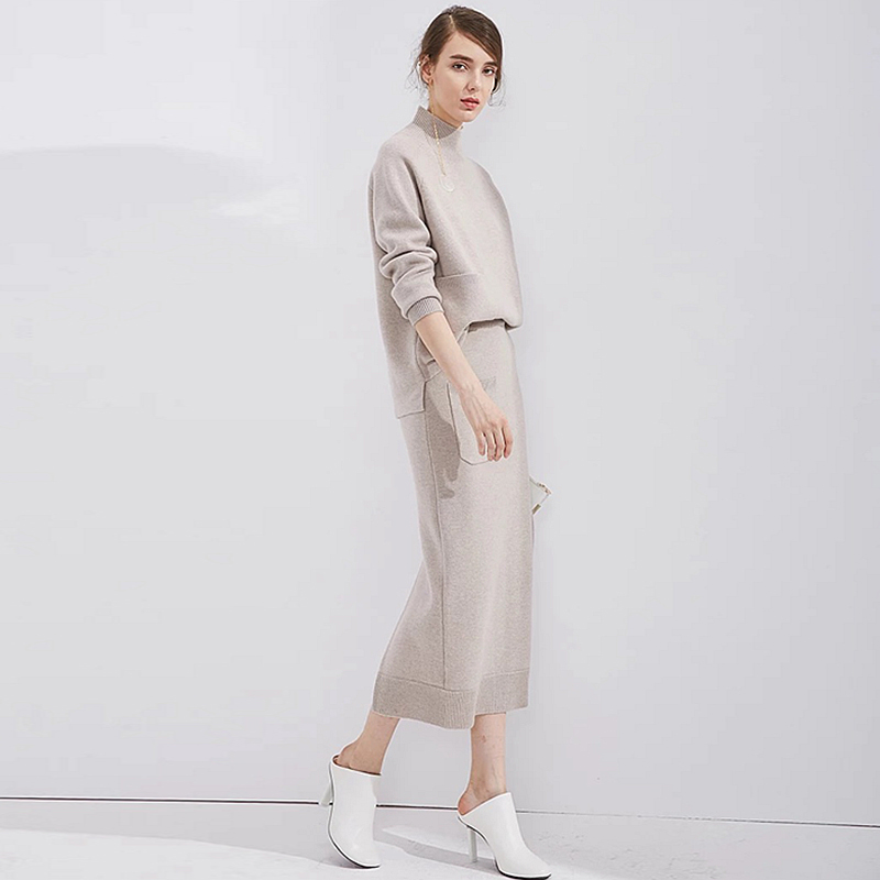 80% Cashmere Knitted Suits Women Two Pieces Set Simple Design Long Sleeve Pocket Straight Skirt 2 Colors New Elegant Style 2018