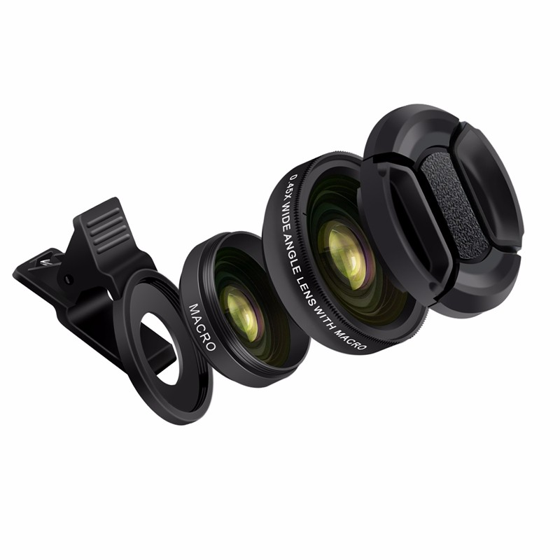 TURATA Fisheye Lens 2 in 1 Professional HD Phone Camera Lens Kit 0.45X Wide Angle+12.5X Macro Clip-on Fish Eye for Smartphone 4